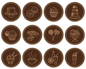 Sweets and beverages icons set