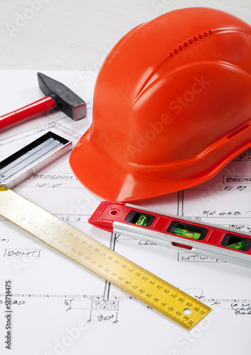 Construction tools on a blueprint