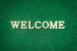 Welcome Text on Green