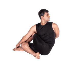 Yoga ardha matsyendrasana on white