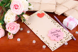 Writing letter of congratulations to mother's Day