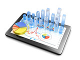 Financial data on tablet - isolated on white