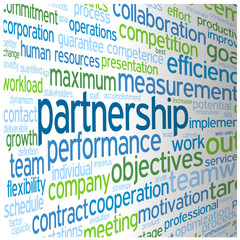 """""""PARTNERSHIP"""" Tag Cloud (team management contract leadership)"""