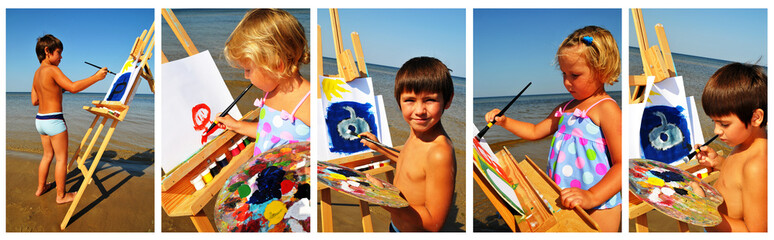 Children paints on the beach.Collage