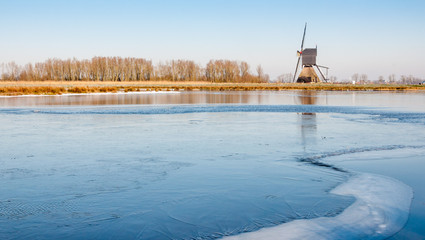 Ice surface on a small lake in the Netherlands