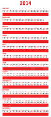 2014 year vector calendar with special design