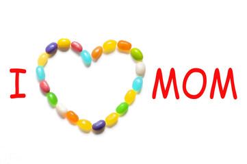 """I love Mom"" Karte mit Gelee Dragees"