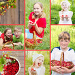 collage of children with berries outdoor