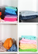 Clothes neatly folded on shelves