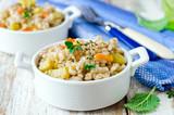 .Barley porridge with vegetables