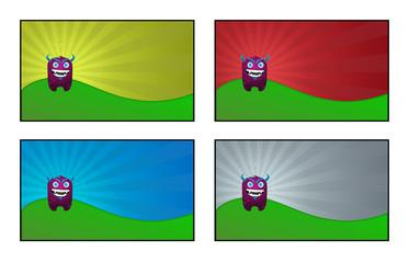 Illustrazione di un simpatico mostro su sfondo colorato