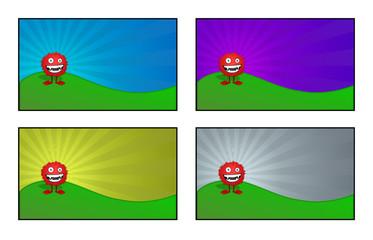 Illustrazione di un simpatico mostro, 4 elementi