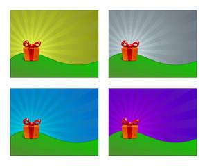 Illustrazione di un pacco regalo su sfondo colorato, 4 elementi