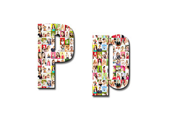 lot of people portraits - letter P large size