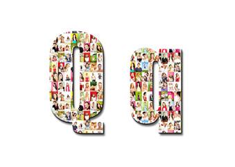 lot of people portraits - letter Q large size