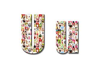lot of people portraits - letter U large size