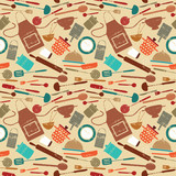 Retro seamless pattern with cooking related symbols