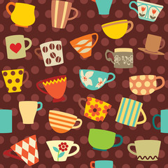 Seamless pattern with colorful cups on dotted background