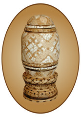 Pt-Easter wooden egg shell inlaid in an oval cartouche