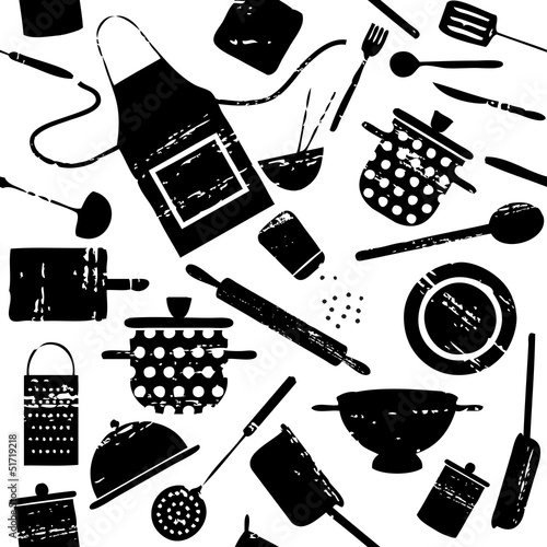 Seamless pattern with scratched cooking related silhouettes 1