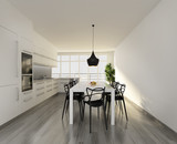 Contemporary white kitchen with black chairs and wood floor