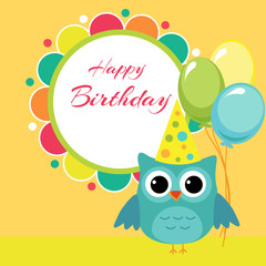 Vector birthday party card with owl