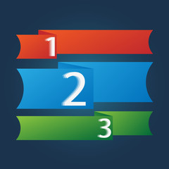 One two three - vector progress icons for three steps