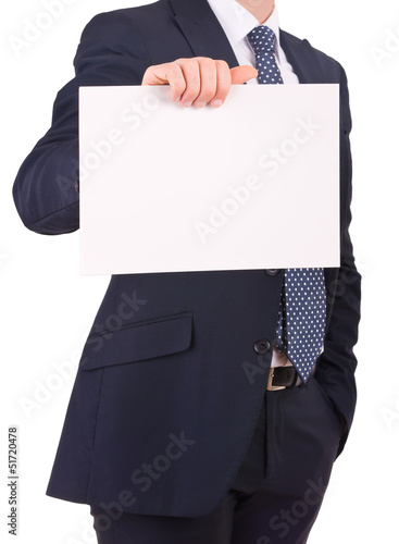 Business man showing blank sign.