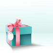 Vector gift box with silk pink bow