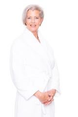 Senior woman with bathrobe