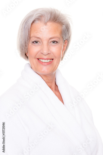 Senior woman with bathrobe