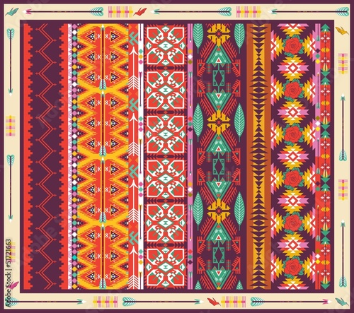 Poster Seamless colorful aztec carpet with birds,flowers and arrow