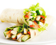 tortilla wraps with chicken and fresh vegetables