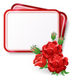 Card with red roses and dew drop