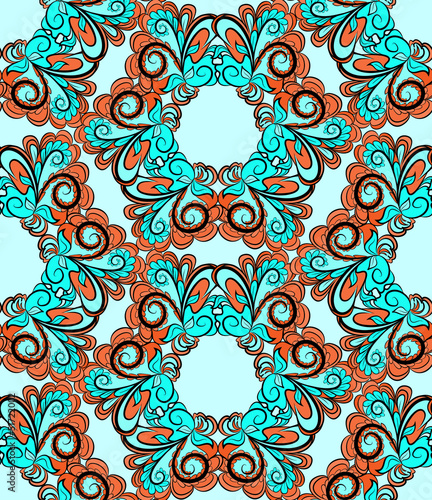 Seamless hexagonal red-cyan pattern