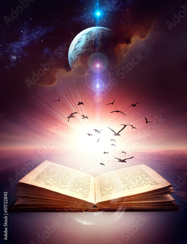 ancient open book with magic light and flying birds