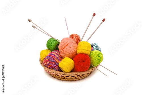 Basket with yarn
