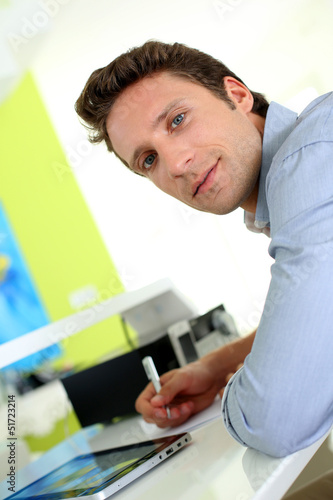 Portrait of man working from home
