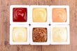 collection of condiment,sauce