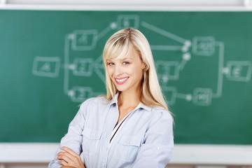 junge lehrerin in der klasse