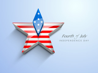 3d star in American Flag color with text Fourth of July for Amer