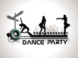 Musical dance party background. flyer or banner with silhouette
