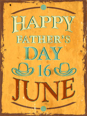 Vintage background of Happy Fathers Day with text 16th June on y