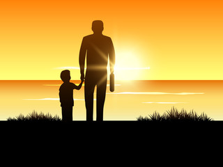 Happy Fathers Day background with silhouette of a father holding