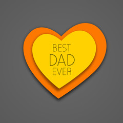 Happy Fathers Day background with yellow and orange heart having