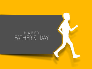 Happy Fathers Day concept with text and son on yellow background