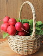 Fresh radish in a wicker basket