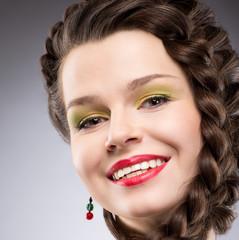 Pleasure. Happy Plaited Brown Hair Woman. Toothy Smile