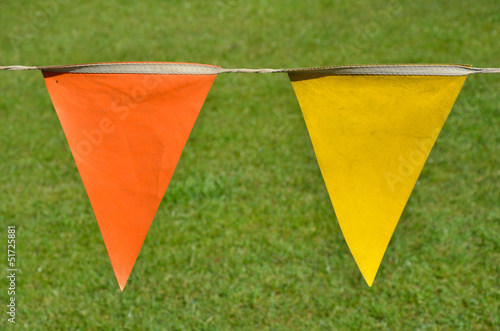 orange and yellow penants with grass background