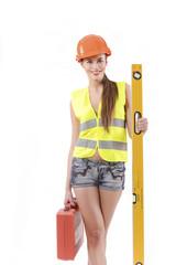 девушка строитель с чемоданчиком